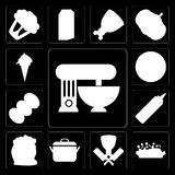 Set of Mixer, Risotto, Butcher, Pot, Flour, Mustard, Coffee, Piz. Set Of 13 simple icons such as Mixer, Risotto, Butcher, Pot, Flour, Mustard, Coffee, Pizza, Ice Vector Illustration