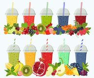 Set of mixes from fruit and berries in glasses. Vector. Vector colored moktaili and smoothies from berries and fruits with whole fruits and leaves Stock Photography