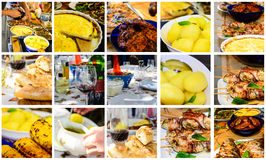 Set of mixt food and drinks Stock Photos