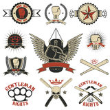 Set of  mma, boxing, street fight emblems and design elements. Set of mma, boxing, street fight emblems and design elements. Fight club. Gentlemen club. Vector Stock Photo