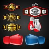 Set of MMA objects - modern vector realistic clip art. On dark background. Mixed Martial Arts items: boxing gloves, champion`s belts, awards with titles and royalty free illustration