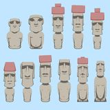 Set of Moai monolithic human figures carved by the Rapa Nui people on the Chilean Polynesian island  Easter Royalty Free Stock Photo