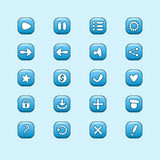 Set of mobile blue vector elements for UI Game Design Stock Image