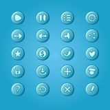 Set of mobile bright blue vector elements for UI Game Design Royalty Free Stock Photos