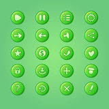 Set of mobile bright green vector elements for UI Game Design Stock Photo