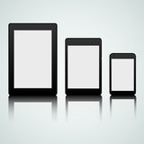 Set of mobile gadgets. Set of  black tablet, laptop and smart phone Stock Photo