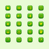Set of mobile green vector elements for UI Game Design Stock Photo