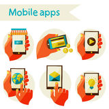 Set mobile icons Stock Images