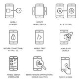 Set of Line / Outline Mobile Icons. Set of 9 mobile icons in a line / outline style design . Great for websites and graphic design Stock Images