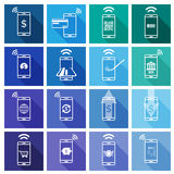 Set of Mobile Payment Flat Design Icon. Vector Illustration Royalty Free Stock Photos