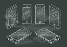 Set of mobile phone chalkboard blackboard vector illustration. Mock up Royalty Free Stock Images