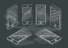 Set of mobile phone chalkboard blackboard vector illustration Royalty Free Stock Images