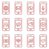 Set of mobile phone icons in thin line style. Contact and communication web icons. Set of mobile phone icons in modern thin line style. Universal communication Royalty Free Stock Photography