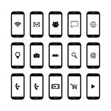 Set of mobile phone icons Royalty Free Stock Image