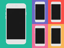 Set of mobile phones with black screen. Stock Photography