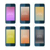 Set of Mobile Phones Blurred Backgrounds. Royalty Free Stock Photo