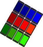 Set of 12 mobile phones in different colors Royalty Free Stock Photo