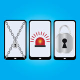 Set mobile security, vector illustration. Stock Image