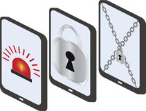 Set mobile security, vector illustration. Royalty Free Stock Image