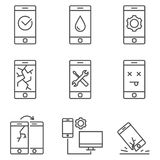 Set of mobile service and repare line vector icons. royalty free stock image