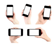 Set Of Mobile Smart Phone Isolated. Hand holding mobile smart phone with blank screen. Set of 5 various photos. Isolated on white
