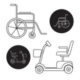 Set of mobility scooter and wheelchair icons. Line art style set of mobility scooter and wheelchair icons vector illustration