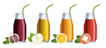 Set of mock up of fruit juice in a glass jars with a straw. And fruit sketch Stock Images
