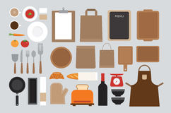 Set of mock up kitchen tool flat design Stock Photography