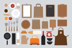 Set of mock up kitchen tool flat design Stock Photography