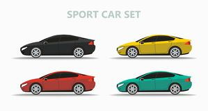 Set of mock up a popular car of a different color stock illustration