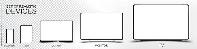 Set Mock-up of realistic devices. Smartphone, tablet, laptop, monitor and TV on a transparent and white background. Flat vector il. Lustration EPS 10 stock illustration