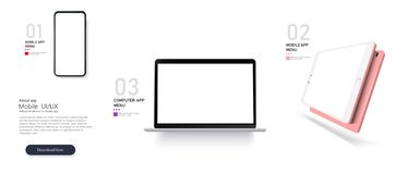 Set Mock-up of realistic devices Smartphone,laptop stock illustration