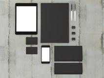 Set mockup elementy na drewno stole Mockup biznesu szablon Obraz Royalty Free