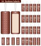 Set 26 mod etykietek w braun kolorze Zdjęcia Royalty Free