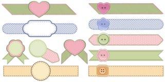 Set moda faborki i tkanin odznaki Fotografia Stock