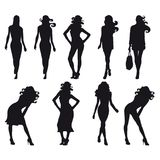 Set of silhouette of models stock image