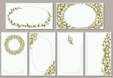 Set of models of decorative greeting cards. Vector illustration. Vector mock-ups of holiday seasonal cards with background compositions from willow twigs Stock Images