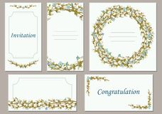 Set of models of greeting cards. Vector illustration. Vector greeting card collection with a background composition of willow twigs. Suitable for spring Stock Photography