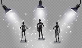 Set of models on a podium with spotlights. Fashion clothing store mannequins, silhouette of man, girl, baby , teenager, pregnant woman Stock Photo
