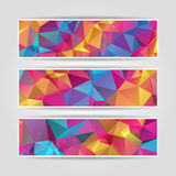 Set of modern Abstract Colorful Triangle Polygonal header Royalty Free Stock Image