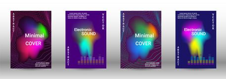 Set of modern abstract musical backgrounds. stock illustration