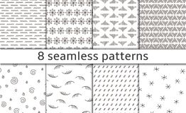 Set of 8 Modern abstract simple vector seamless patterns with monochrome trellis. Repeating geometric grid. Bends, doodles and tittles. graphic design. dots Stock Images