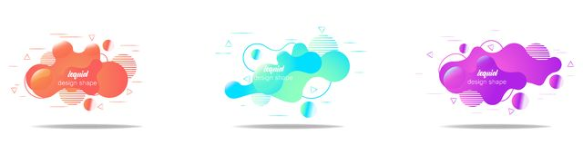 Set of modern abstract vector banners. fluid shapes of different colors with bright outline in modern design style. stock illustration
