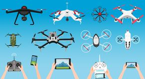 Set of modern air drones and remote control. Science and Modern technologies. Vector illustration. Radio robot or. Airplane with a camera in the air. Innovative Stock Photos