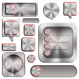 Set of modern aluminum buttons Royalty Free Stock Photography