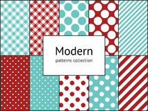 Set of modern backgrounds with stripes, checks, polka dot seamless pattern textures Royalty Free Stock Photography