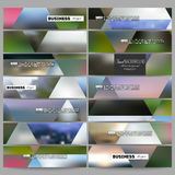 Set of modern banners. Abstract multicolored background, blurred nature landscapes, geometric vector, triangular style Stock Photo