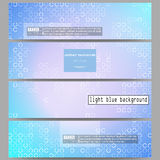 Set of modern banners. Abstract white circles on light blue background, vector illustration Royalty Free Stock Photo