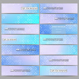 Set of modern banners. Abstract white circles on light blue background, vector illustration Royalty Free Stock Photography