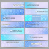 Set of modern banners. Abstract white circles on light blue background, vector illustration Stock Image